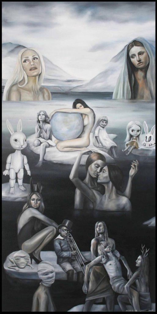 'Valley of The Frozen Tears' Oil on Linen, 122 x 61 cm, Madeleine Casey